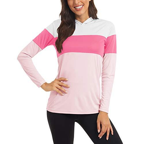 KEFITEVD Langarm Laufshirt Damen UV Schutz Shirt mit Kapuze Gestreift Funktionsshirt Leicht Atmungsaktiv Running Longsleeve Sommer Pink-Rosenrot M