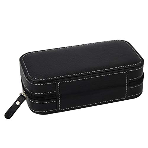 NICERIO Uhr Aufbewahrungsbox,Innen Gepolsterte Uhr Reisetasche Uhr Kollektion Reisetasche für 2 Uhren Schwarz