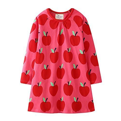 Mädchen Sommer Streifen Kurzarm Lange Ärmel Baumwolle T-Shirt Kleid Mädchen Sommer T-Shirt Kleid (3-8 Jahre,80-140CM)