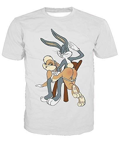 Männer 3D T-Shirt Amerikanischer Anime Bugs Bunny Fußball Team Uniform Aufrecht Dolphins Muster Digitaldruck Liebhaber Shirt(XL,Weiß)