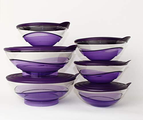 Tupperware Eleganzia - Juego de 4 cuencos de 600 ml + 2 x 1,5 L de color violeta y transparente con recipiente para congelación de 250 ml amarillo