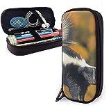 Estuche de cuero Skunk Pu, estuche para bolígrafos de gran capacidad, organizadores de papelería duraderos para estudiantes con cinturones elásticos de doble cremallera para la oficina de la escuela