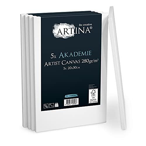Artina Akademie Leinwand 5er Set 20x30 cm Leinwand auf FSC® Keilrahmen aus 100% Baumwolle auf stabilem Keilrahmen in Akademie Qualität - 280 g/m² zum Bemalen