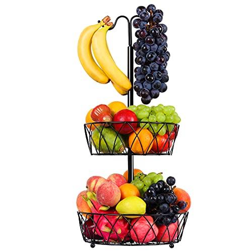 Countertop Fruit Basket Bowl Storage: 2-Tier Detachable Metal Wire Fruit Bowl with Banana Hanger Vegetable Holder | Snack Bread Baskets Kitchen...