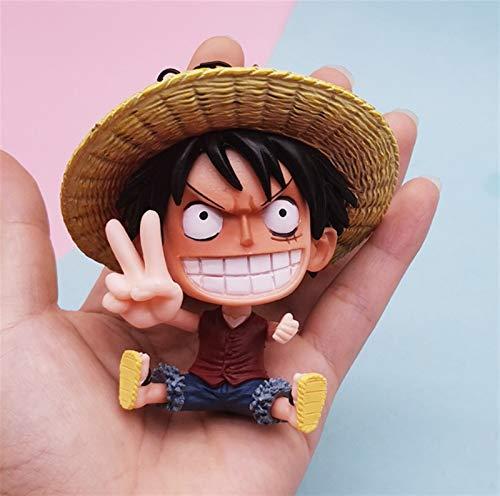 Xssbhsm Llaveros Personalizados Crear Anime One Piece Colgante Dibujos Animados Luffy Soron Ace Garaje Kit Llaveros Colección de Ventiladores Memorial Best Gift Llavero (Color : Blue)