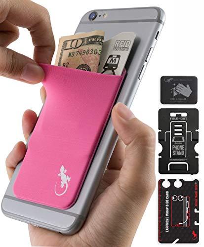 Gecko Travel Tech - Kartenhalter für Smartphones - Haftendes Kartenfach - Handytasche Handy-Tasche in Rosa