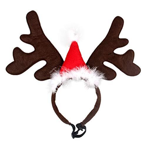 PRETYZOOM Weihnachten Haustier Stirnband Rentiergeweih Stirnband Elchgeweih Haarreif mit Weihnachtsmütze für Katze Hund Weihnachten Xmas Party Haarschmuck Cosplay Kostüm Zubehör