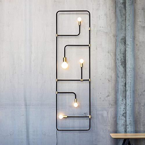 Lámpara de pared de entrepiso nórdico Lámpara de tubo de hierro negro de estilo industrial simple Lámpara decorativa Lámpara de pared Lampas