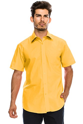 JC DISTRO Men's Regular-Fit Solid Color Short Sleeve Dress Shirt, Yellow Shirts (4XL)