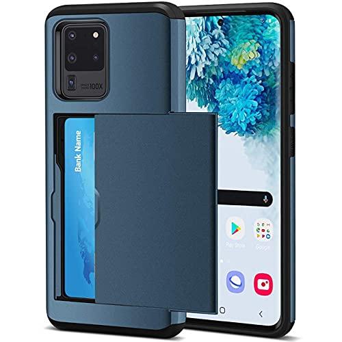 Per Samsung S20 FE S21 Note 20 Ultra 10 9 8 S10 E 5G S9 S8 Plus Slide Armor Portafoglio slot per schede Custodia per Galaxy S7 S6 Edge Plus, blu navy, per Galaxy S21 Plus