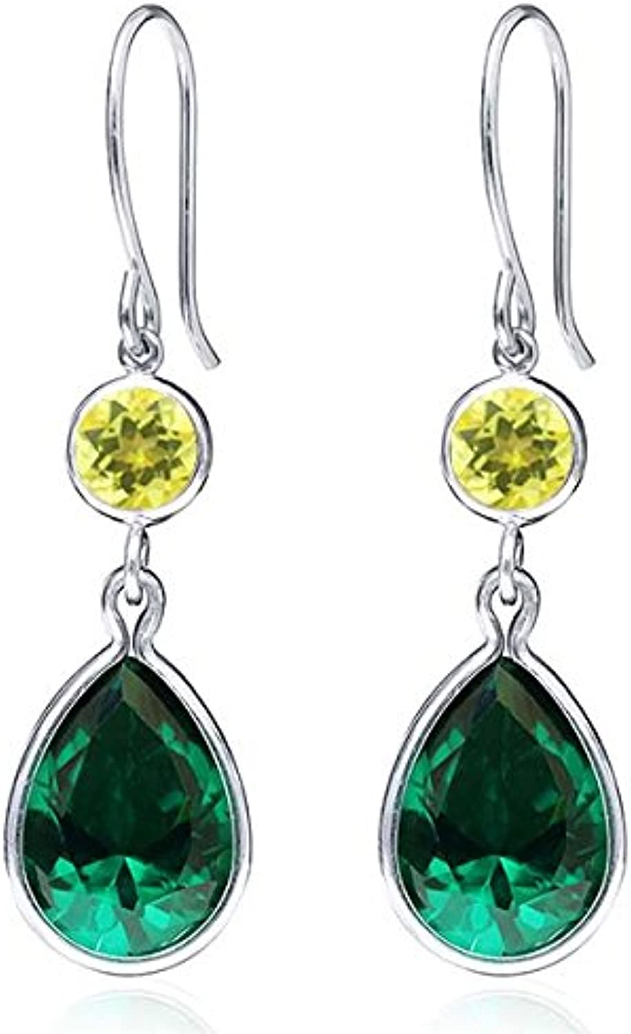 10.50 Ct Green Simulated Emerald Canary Mystic Topaz 925 Sterling Silver Earrings