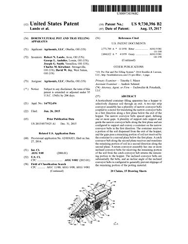 Horticultural pot and tray filling apparatus: United States Patent 9730396