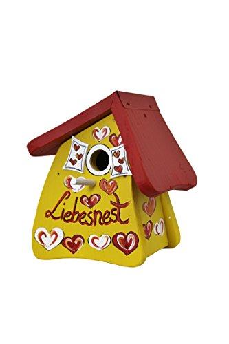 Die Vogelvilla, Nistmini Liebesnest Herzen, Nistkasten, Vogelhaus, gelb
