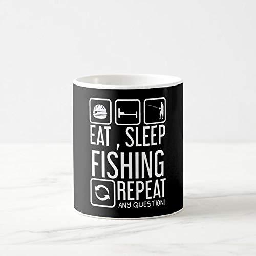 Funny Coffee Mug, Eat, Sleep, Fishing Repeat, Any Quest. Coffee Mug, 11 Oz Coffee Mug Tea Or Coffee Mug, Novelty Coffee Mug Gifts For Women Men