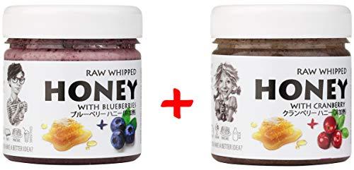 【Amazon.co.jp限定】 はちみつ 蜂蜜 ハチミツ 生 2個組 セット (クランベリーハニー200g、ブルーベリーハニー200g) Raw Honey Set Cranberry 200g & Blueberry 200g