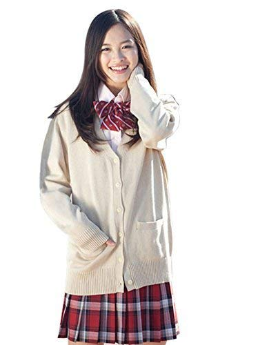 ROLECOS Girls Japanese Knit Cardigan Candy Color School Uniform Sweater Cosplay Costume Light Apricot L