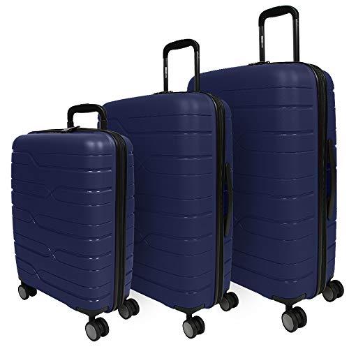 PERLETTI Set 3 Valigie Trolley Extra Resistenti in Polipropilene - Tris Bagaglio a Mano e da Stiva da Viaggio Rigido Blu - Chiusura TSA Incassata e 4 Ruote Doppie - Perletti Travel (Blu, S+M+L)