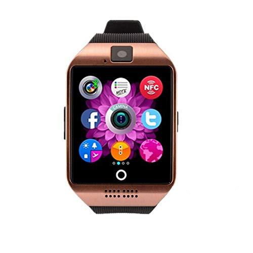 XXY Smart Watch Q18 SmartWatch Soporte Cámara SIM TF Tarjeta Slot Fitness Activity Tracker Sports Relojes Deportivos para Android iOS (Color : Gold, Size : with Original Box)