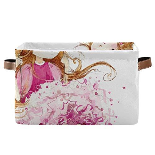 Cestas de lavado para niñas con columpio de flores, cestas de lavandería plegables para la colada, cestas de lavandería portátiles (38 x 28 x 24 cm) - 2 paquetes