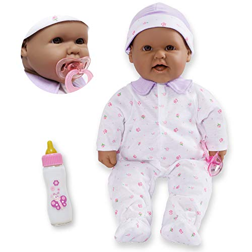 JC Toys Hispanic 16-inch Medium Soft Body Baby Doll La Baby   Washable  Removable Purple Outfit w/ Hat and Pacifier   for Children 12 Months +, Hispanic-Purple