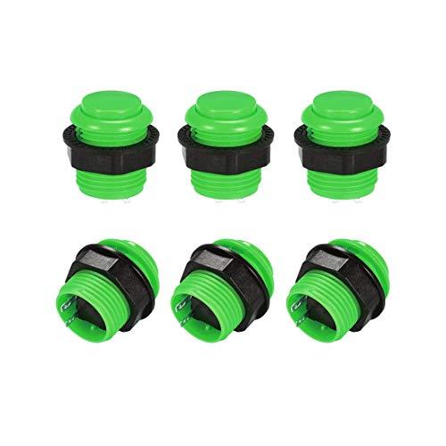 Interruptor de botón de presión para juego momentáneo redondo de 23,6 mm para juegos de vídeo arcade verde 6 piezas