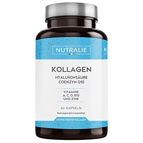Kollagen + Hylauronsäure + Coenzym Q10 + Vitamine A, C, D und B12 + Zink   Für die Gelenke und für die Haut   Kollagen Hydrolysat in 60 Kapseln   Nutralie