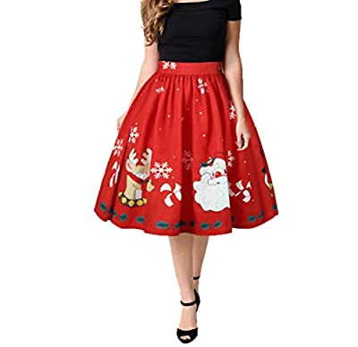 Plustrong Women's Xmas Ugly Christmas Printed Flared Mini Skater Skirts