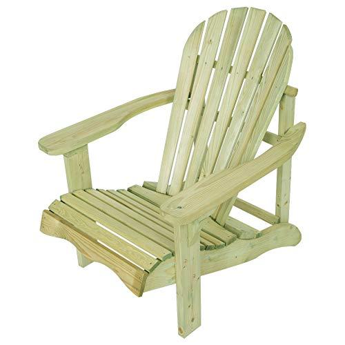 EKJU Single Relax Adirondack Wooden Garden Chair (Natural)