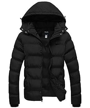 Wantdo Men s Winter Thicken Cotton Coat Puffer Jacket with Hood Black Medium