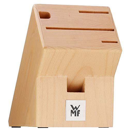 WMF Messerblock ohne Messer, unbestückt, Holz, Buchenholz leer, für 3 Messer, 1 Wetzstahl