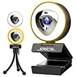 Webcam with Microphone, 2021 Srica Adjustable Brightness Ring Light Privacy Cover USB Web Camera with Tripod 1080P HD Plug and Play Streaming Webcam for Desktop PC Computer Skype YouTube OBS Xsplit