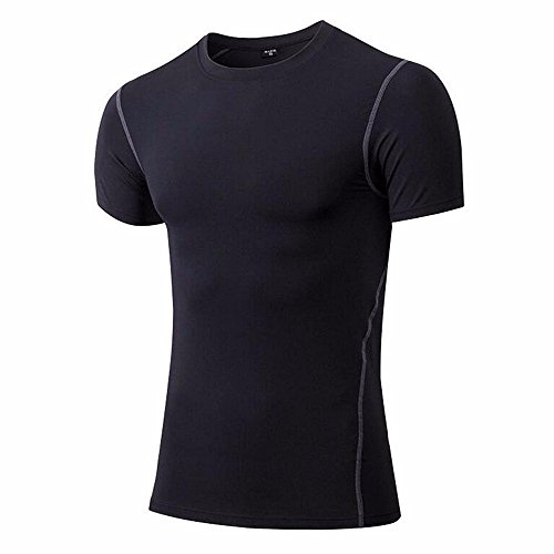 FITTOO Men's Cool Dry Compression Sport T-Shirt Base Layer Tops, L, Black - Short Sleeve