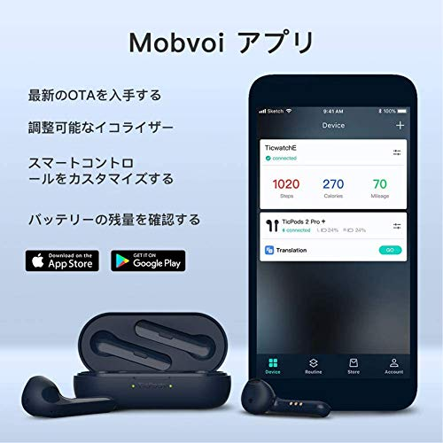ティックウォッチTicPods2ProPlus完全ワイヤレスイヤホンBluetooth5.0独立接続超小型Bluetoothイヤフォンヘッドジェスチャー・コントロールフルワイヤレスイヤホン(ブルー)小