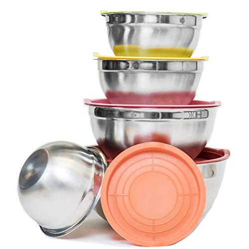 Yohong Edelstahl Schüsselset mit Deckel aus 6 Stück, Rührschüssel, Salatschüssel, Fassungsvermögen 3.5L / 3L / 2.5L / 2L / 1,5L / 1L, Stapelbar, Spülmaschinenfest