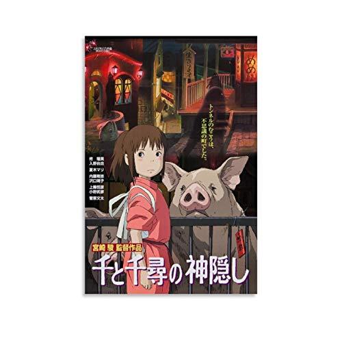 QINGF Hayao Miyazaki-Spirited Away – HD Anime Leinwand-Kunst-Poster und Wandkunstdruck, modernes Familienschlafzimmerdekor, 50 x 75 cm
