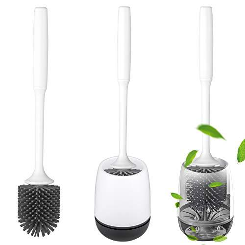 QTTO WC Bürste, Toilettenbürste Set und Schnell Trocknendem Haltersatz, Klobürste Silikon mit Anti-Haft-Wirkung, Stehen Silikon Toilettenbürste für Badezimmer und WC, Toilet Brush