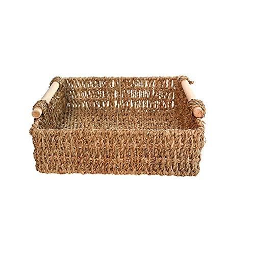 Cesta de almacenamiento tejida de paja de pasto marítimo, organizador de artículos con mango de madera, apilable, juguetes, contenedor de decoración de escritorio