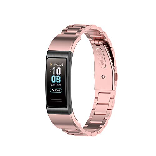 Yikamosi Compatible with Huawei Band 3/3 Pro/4 Pro Band,Stainless Steel Metal Quick Fit Replacement Smart Watch Bracelet Strap Bands for Huawei Band 3/3 Pro/4 Pro(Rose Pink)