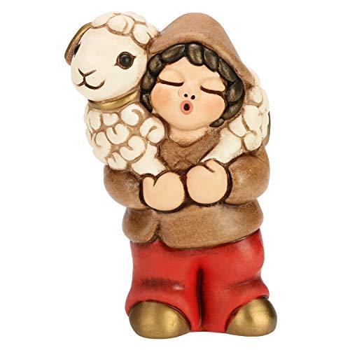 THUN® - Pastore con Pecora - Versione Rossa - Statuine Presepe Classico - Ceramica - I Classici