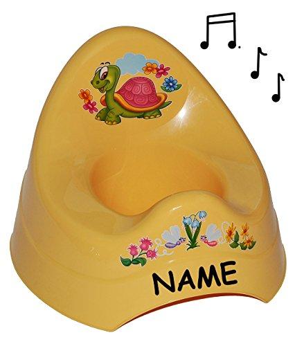 alles-meine.de GmbH Töpfchen / Nachttopf - mit Musik / Sound - groß - mit großer Lehne + Spritzschutz incl. Namen - Schildkröte gelb - Babytöpfchen / Kindertopf / Lerntöpfchen - ..