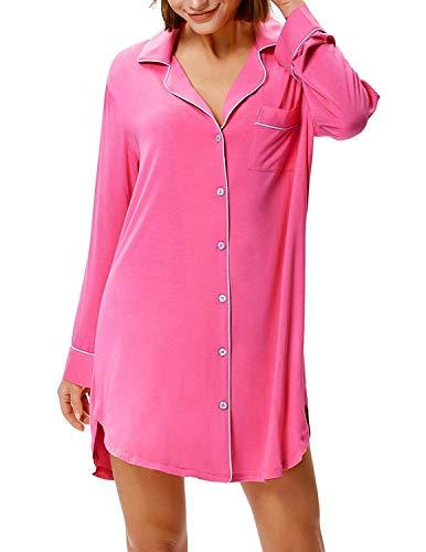 Zexxxy Nachthemd Damen Knöpfe Vorne Schlafanzugoberteil Langarm Nachtkleid Sommer weich Schwangere Frauen Pyjama Schlafkleid Knopfleiste Nachtwäsche (Rosa, X-Large)