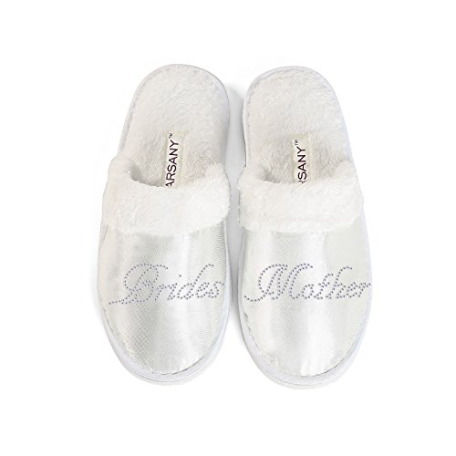 Zapatillas de hotel de la madre de la novia para despedida de soltera, diamantes de imitación, con texto en inglés