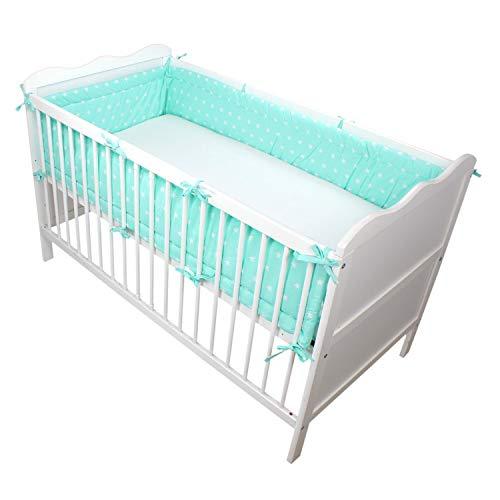 TupTam Protector para Cama de Bebé Largo Acolchado, Estrellas Blancas/Menta, 360x30 cm (Cuna 120x60 cm)