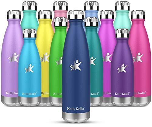 KollyKolla Botella de Agua Acero Inoxidable, Termo Sin BPA Ecológica, Botellas Termica Reutilizable Frascos Térmicos para Niños & Adultos, Deporte, Oficina, Yoga, Ciclismo, (500ml Azul Marino)