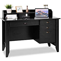 cheap Tangkula computer desk, home office desk, vintage style student desk with wooden frame, 4 drawers and more …