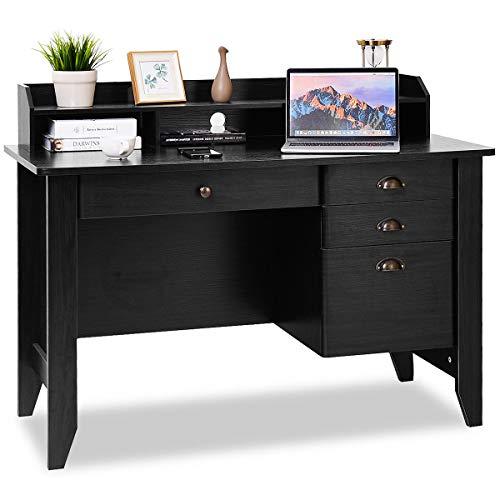 Tangkula Computer Desk with 4 Storage Drawers & Hutch, Home Office Desk Wooden Frame Vintage Style Desk with Storage Shelves, Executive Desk Writing Study Desk (Black)