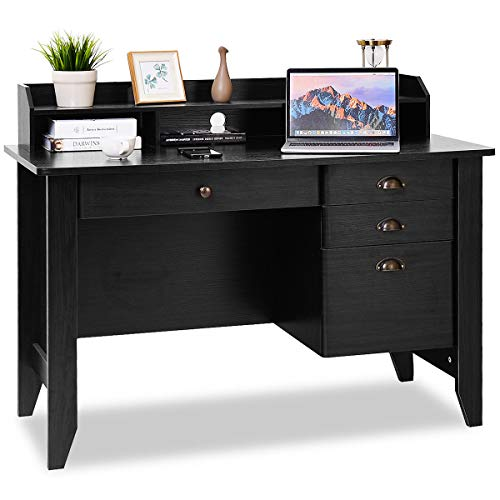 Tangkula Computer Desk, Home Office Desk, Wood Frame Vintage Style Student Table with 4 Drawers & Bookshelf, PC Laptop Notebook Desk, Spacious Workstation Writing Study Table (Black)