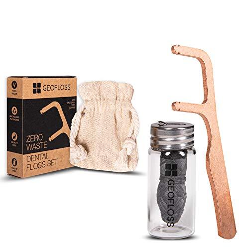 Zahnseide Dental Floss Natürlich Plastikfrei Eco 100% Kupfer Antimikrobiell Wiederverwendbar Zahnseidenhalter Umweltfreundlich Bambus Activkohle Zero Waste Glasflakon Geofloss Minzgeschmack 30 m