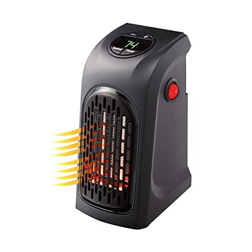 Handy Heater Portable Indoor Small Space Heater - Personal Mini Smart Plug Heater for Electrical Outlet - Home, Office, Car Use - With Digital Display for Thermostat, Timer - Overheat Protection Heater Portable Space