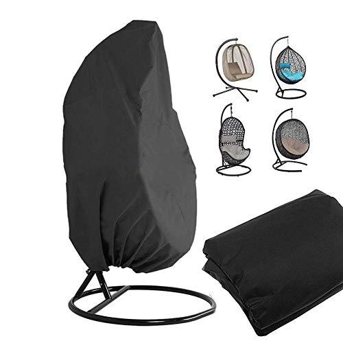Overtrek voor hangstoel, houder, draaibaar, voor eieren van rotan, buiten, afdekking voor tuinmeubelen - 190 x 115 cm (zwart)
